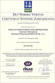 Certyfikat Systemu Zarządzania ISO 9001:2000
